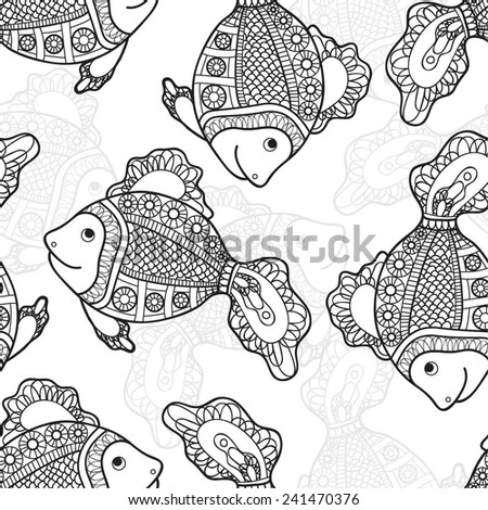 Beautiful fantastic fish. Seamless background from abstract fish of the same size. The design is done in black and white style. - stock vector