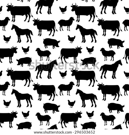 Beautiful farm animals seamless pattern in color for background. . vector illustration - stock vector