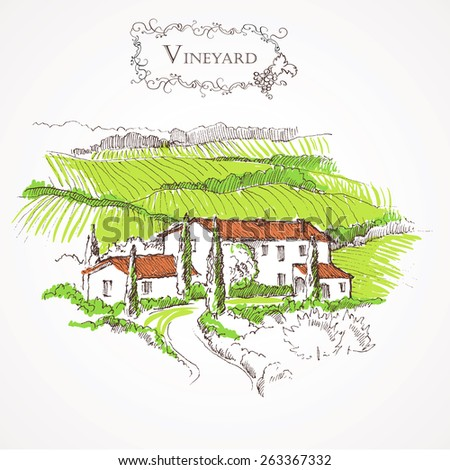 beautiful farm or villa hand drawn vector illustration vintage engraving style - stock vector