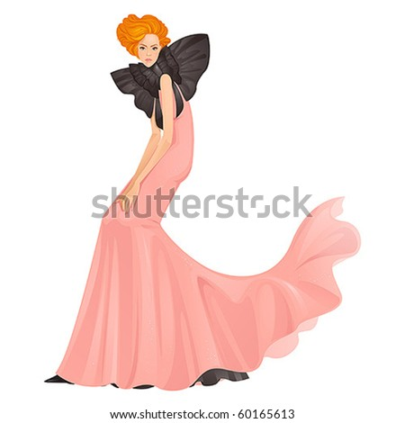 Beautiful fashion model in pink evening dress - stock vector