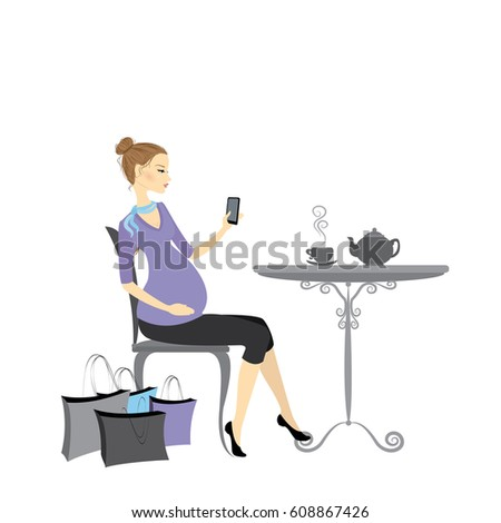 Beautiful fashion pregnant woman with a cell phone in her hand, sits in a cafe at a table,cartoon vector illustration