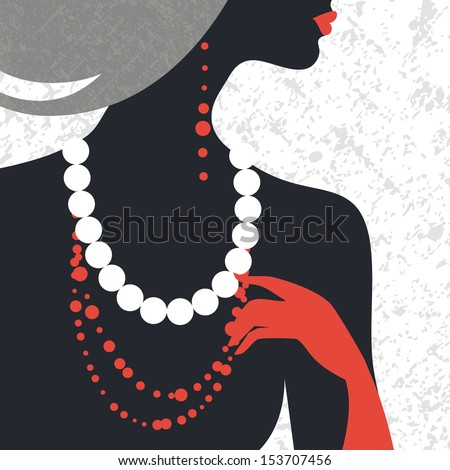 Beautiful fashion woman silhouette. Flat design	 - stock vector