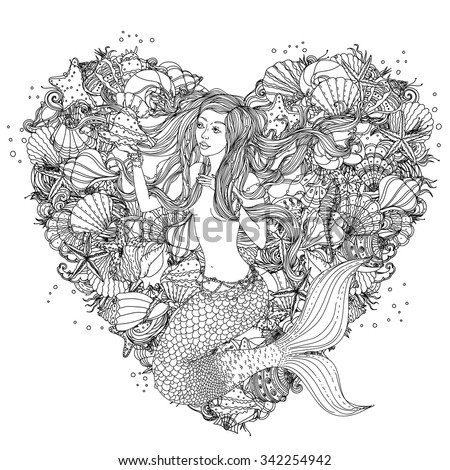 Beautiful fashion woman with elements of seashells, starfish, seaweed in the image of a mermaid on heart shape background, could be used  for coloring book.  Black and white in zentangle style. - stock vector