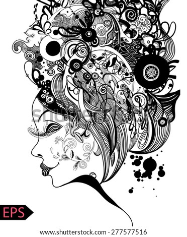 Beautiful fashion women with abstract and floral elements. EPS illustration. - stock vector