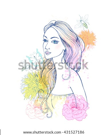 Beautiful fashion women with abstract watercolor colorful flowers and blots. - stock vector