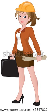 Beautiful female architect holding a briefcase and blueprint. - stock vector