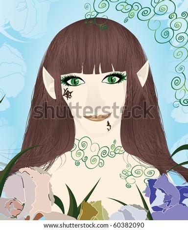 Beautiful female elf portrait vector illustration - stock vector