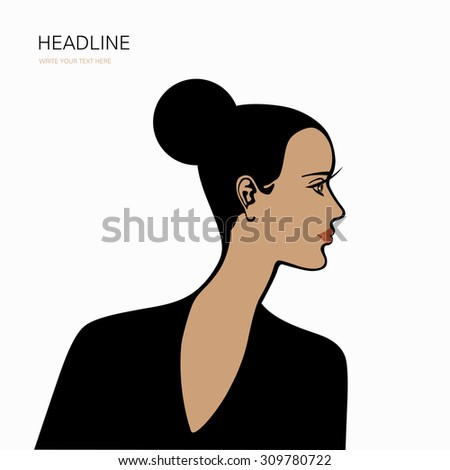 Beautiful female face in profile (card, cover, poster, banner, label, print) - stock vector