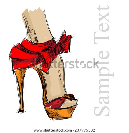 beautiful female high-heeled shoes - stock vector