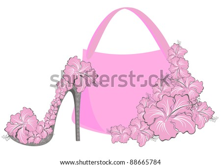 Beautiful female shoes and bags - stock vector