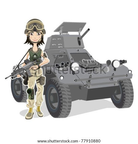 Beautiful female Soldier With Gun and Tank - stock vector