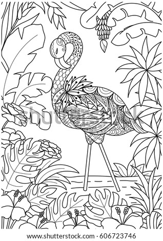 kleurplaat flamingo jungle pink flamingo coloring page