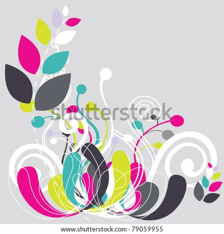 Beautiful floral abstract background in soft green, yellow and pink- Great for textures and backgrounds for your projects! - stock vector