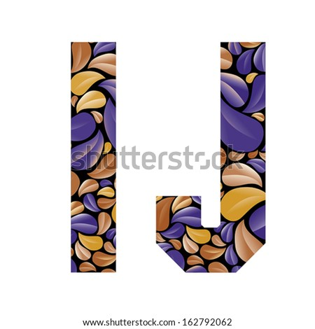 Beautiful floral alphabet, vintage style patterned flower petals geometric shaped letters, bold geometric poster condensed alphabet, vector letter i and letter j. Letter shapes designed specially. - stock vector