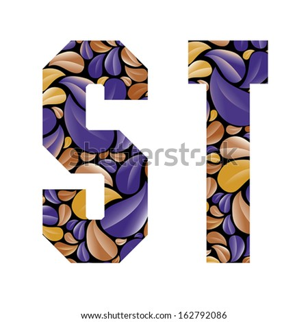 Beautiful floral alphabet, vintage style patterned flower petals geometric shaped letters, bold geometric poster condensed alphabet, vector letter s and letter t. Letter shapes designed specially. - stock vector