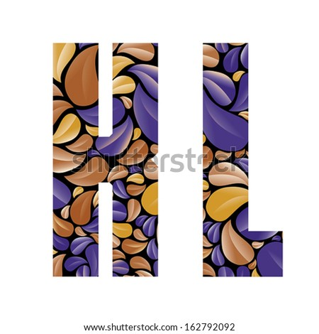 Beautiful floral alphabet, vintage style patterned flower petals geometric shaped letters, bold geometric poster condensed alphabet, vector letter k and letter l. Letter shapes designed specially. - stock vector