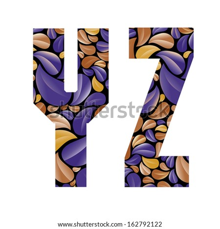 Beautiful floral alphabet, vintage style patterned flower petals geometric shaped letters, bold geometric poster condensed alphabet, vector letter y and letter z. Letter shapes designed specially. - stock vector