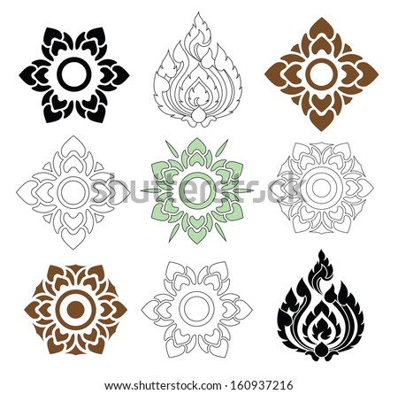 beautiful floral and leaves of Thai pattern on white background, vector set - stock vector