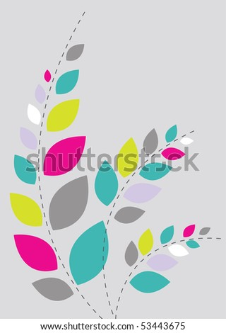 Beautiful floral background in soft pink, grey and green- Great for textures and backgrounds for your projects! - stock vector