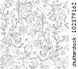 Beautiful floral background seamless monochrome (vector version eps 8) - stock vector