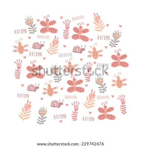 Beautiful floral background with cute insects - stock vector