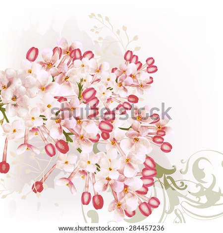 Beautiful floral background with lilac flowers in watercolor style - stock vector