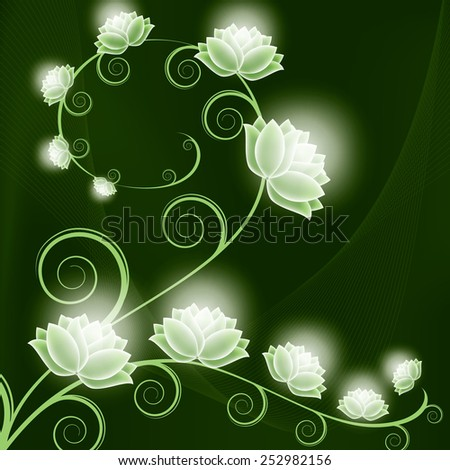 Beautiful Floral Background with Shiny Flowers. - stock vector