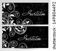 Beautiful floral decorated invitation cards.  - stock vector