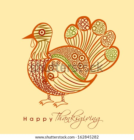 Beautiful floral decorated shiny turkey bird on grey background, Happy Thanksgiving Day celebration concept.  - stock vector