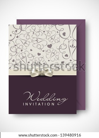 Beautiful floral decorated wedding invitation card. - stock vector