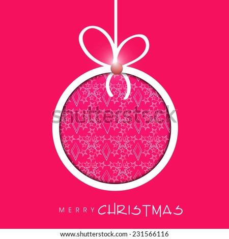 Beautiful floral decorated X-mas ball for Merry Christmas celebration on pink background. - stock vector