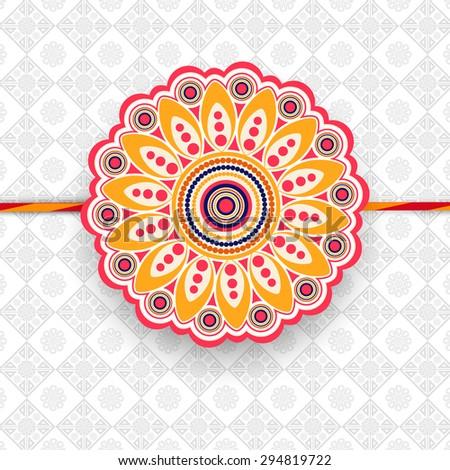 Beautiful floral design decorated rakhi on stylish background for Indian festival, Happy Raksha Bandhan celebration. - stock vector