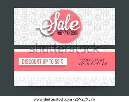 Beautiful floral design decorated Sale website header or banner set with 50% discount offer. - stock vector