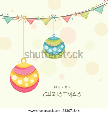 Beautiful floral design decorated X-mas ball hanging from colorful ribbons for Merry Christmas celebrations. - stock vector