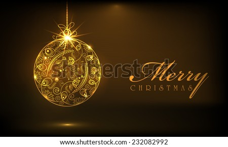 Beautiful floral design decorated X-mas balls on brown background for Merry Christmas celebrations. - stock vector