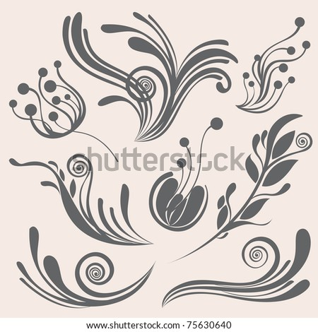 Beautiful floral design elements- Great for textures and backgrounds for your project! - stock vector