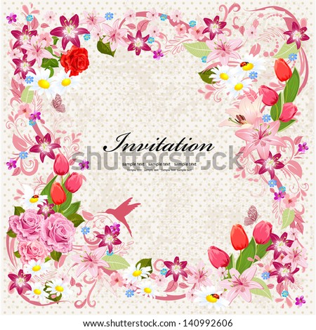 Beautiful floral design invitation card - stock vector