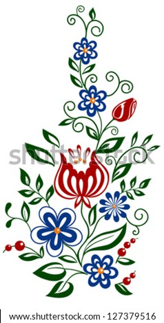 Beautiful floral element. flowers and leaves design element. Many similarities to the author's profile. - stock vector