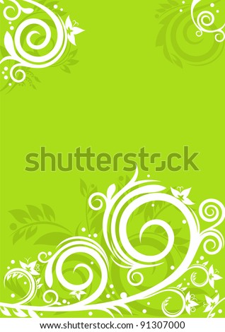 Beautiful floral ornaments on green background. Spring concept for Your design - stock vector