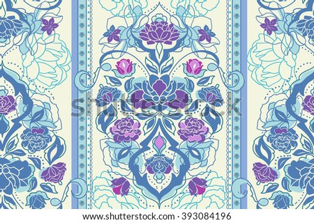 Beautiful floral pastel classic blue  Victorian seamless pattern with rose, peony, gardenia flowers. Elegant vintage vector eastern background or texture - stock vector