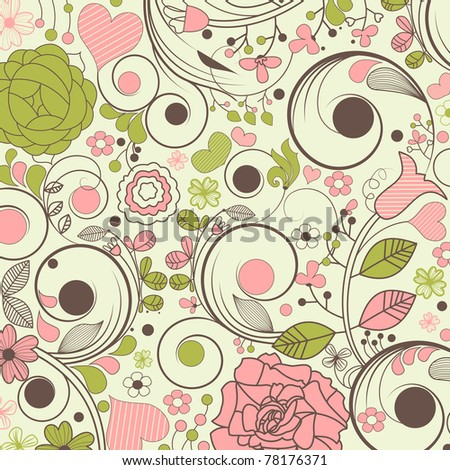 Beautiful floral pattern - stock vector
