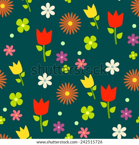Beautiful floral pattern, dark green background, vector. - stock vector