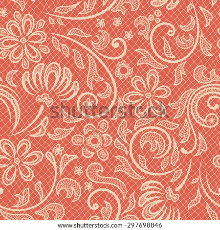 Beautiful floral pattern stylized like laces - stock vector