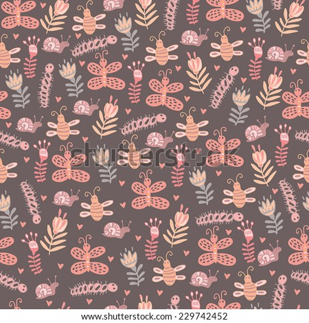 Beautiful floral seamless background with cute insects - stock vector