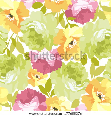Beautiful floral seamless pattern. - stock vector