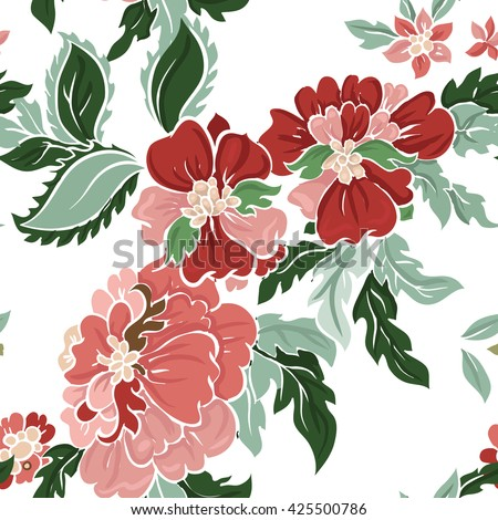 Beautiful floral seamless pattern . Light composition on white. Vector background. - stock vector