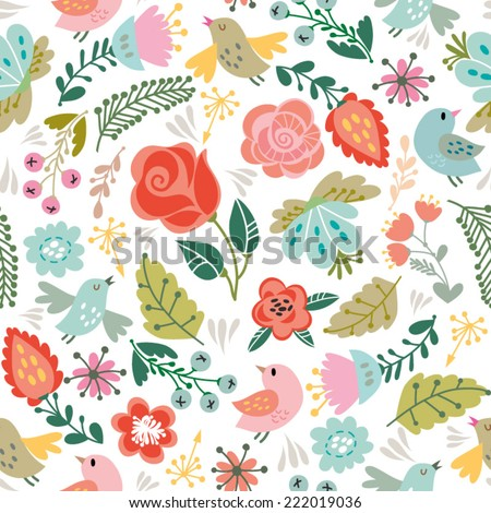 Beautiful floral seamless pattern of bird and flowers. Bright illustration, can be used for creating card, invitation card for wedding,wallpaper and textile. - stock vector