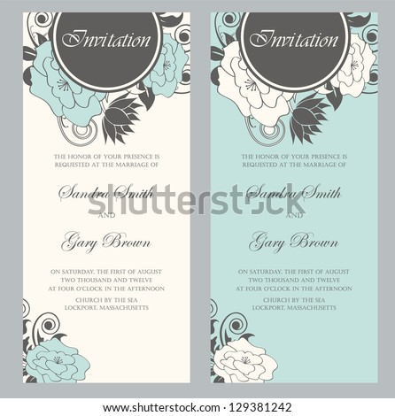 Beautiful floral wedding invitations. Vector illustration - stock vector