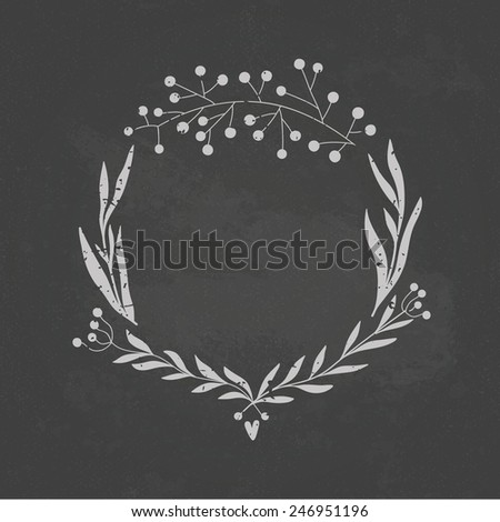 Beautiful floral wreath illustration on a blackboard background. Romantic concept background with flowers. Perfect for wedding invitation or greeting card. - stock vector