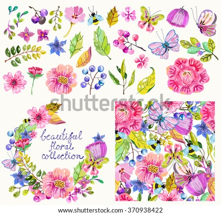 Beautiful flower collection with  details, pattern and wreath for beautiful design, looks like watercolor, handdrawn Vector, without using trace